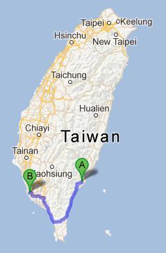 Taitung to Kaosiung